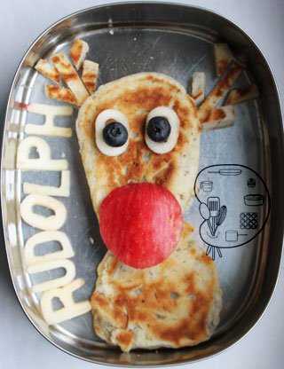 pancake art: Rudolph the Red-Nosed Reindeer