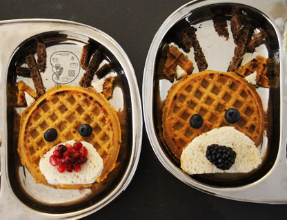 waffle art: Rudy and Donner - embracing our differences